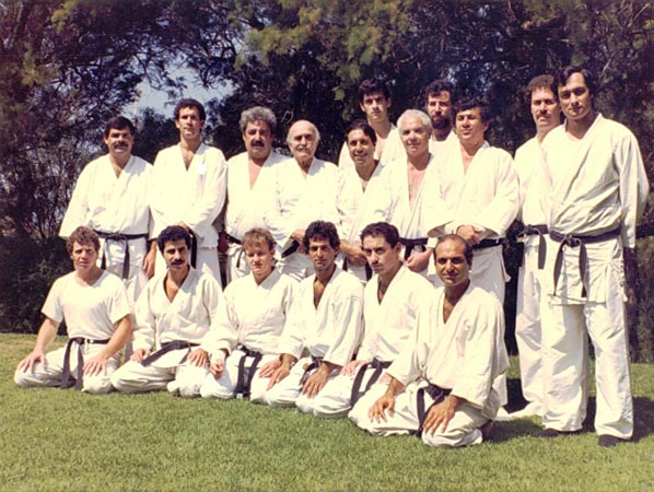 Imi Lichtenfeld and his students in 1982. Only ten of them received a black belt in Krav-Maga directly from Imi.