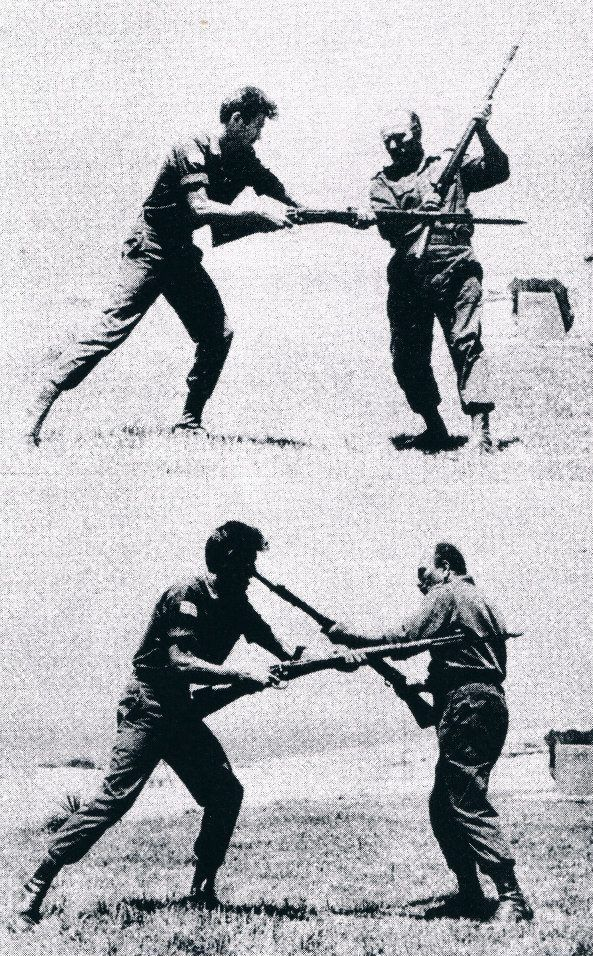 Imi Lichtenfeld teaching self defense techniques in the Israeli army (defense against bayonet attack).